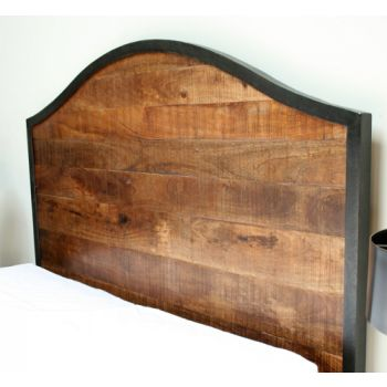 Reclaimed Wood Queen Bed with Iron Frame